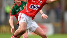 29 March 2015; Noel Galvin, Cork, in action against Alan Dillon, Mayo. Allianz Football League, Division 1, Round 6, Cork v Mayo. P?irc U? Rinn, Cork. Picture credit: Matt Browne / SPORTSFILE