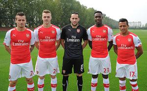 Hey big spender: Summer signings Mathieu Debuchy, Calum Chambers, David Ospina, Danny Welbeck and Alexis Sanchez Photo: GETTY IMAGES