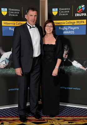 Munster head coach Rob Penney and his wife Erin in attendance at the Hibernia College IRUPA Rugby Player Awards 2013. Burlington Hotel, Dublin. Picture credit: Brendan Moran / SPORTSFILE
