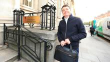 Paschal Donohoe arriving at the Department of Finance this morning. Credit: Gerry Mooney