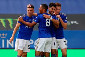 Leicester City's Ayoze Perez celebrates scoring the opening goal in the 2-0 win over Sheffield United. Catherine Ivill/NMC Pool/PA Wire.