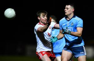 Brian Howard has played down the melee between Dublin at Tyrone in Healy Park. Photo by David Fitzgerald/Sportsfile