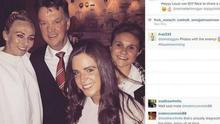 Toni Duggan (left) posted this picture on Instagram of her with Manchester United manager Louis van Gaal