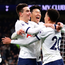 Heung-Min Son of Tottenham Hotspur celebrates with team-mates Giovani Lo Celso and Dele Alli after scoring his team's winning goal. Photo: Getty Images