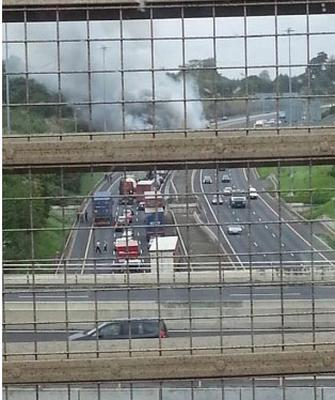 Tailbacks on the M50 after the truck caught fire