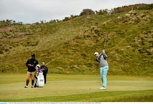 26 May 2015; Mikko Ilonen hits his 2nd shot from the 10th fairway. Dubai Duty Free Irish Open Golf Championship 2015, Practice Day 2. Royal County Down Golf Club, Co. Down. Picture credit: Ramsey Cardy / SPORTSFILE
