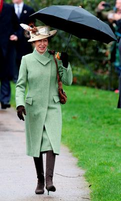 The Princess Royal arrives to attend the morning Christmas Day service at St Mary Magdalene Church on the Sandringham estate in Norfolk. PRESS ASSOCIATION Photo. Picture date: Friday December 25, 2015. Led by the Queen and the Duke of Edinburgh, senior members of the family will make their way from Sandringham House to St Mary Magdalene Church for the traditional service which is held every year on the Norfolk estate. See PA story ROYAL Christmas. Photo credit should read: Chris Radburn/PA Wire
