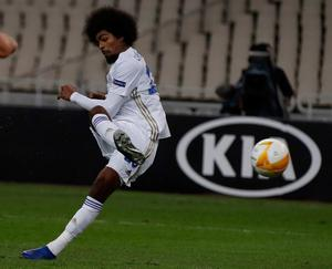 Leicester's Hamza Choudhury scores his side's second goal. Photo: AP