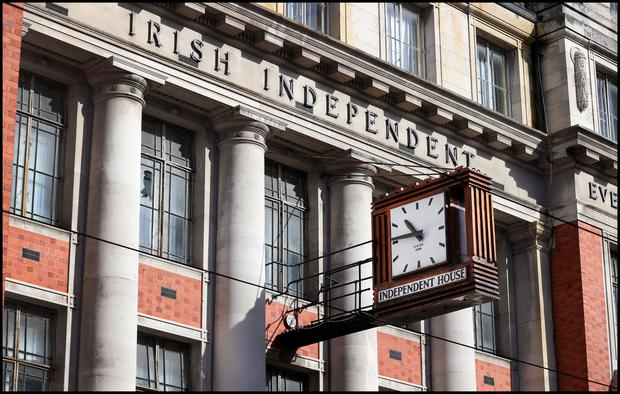 The clock outside the former Irish Independent offices at Independent House on Middle Abbey Street. Photo: Steve Humphreys