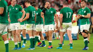 Ireland captain Rory Best (c) reacts dejectedly after the Pool A defeat to Japan in Shizuoka. Photo: Stu Forster/Getty Images