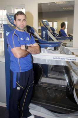 Stephen Smith, Rehab coach at Leinster, with the Anti-Gravity treadmill