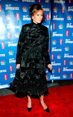 "Melania Knauss attends the after party for the final episode of ""The Apprentice 2"" at the Roseland Ballroom  December 16, 2004 in New York City. (Photo by Paul Hawthorne/Getty Images)"