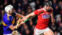 Darragh Fitzgibbon of Cork bursts past Tipperary's Séamus Kennedy during the Allianz Hurling League Division 1 Group A Round 2 match at Páirc Uí Chaoimh in Cork. Photo: Eóin Noonan/Sportsfile