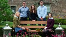 9/9/15 Danielle Curtis (left), Patrick Shortt,Claire O'Connor, Marcus  O'Halloran and Hazel Beattie, UCD students at the unveiling of a bench in memory of the Irish J1 students killed in the Berkeley tragedy at a special ceremony at UCD. Picture:Arthur Carron