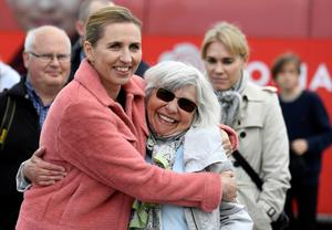 Mette Frederiksen (left) of the Danish Social Democrats with a party supporter -  Frederiksen seems set to be Denmark's next Prime Minister