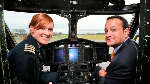Minister for Transport Tourism and Sport, Leo Varadkar pictured with Capt. Dara Fitzpatrick, Captain of the new Coast Guard Sikorsky S92 helicopter for the East Coast region at the launch of the new helicopter at Weston Airport this morning......Picture Colin Keegan, Collins Dublin.