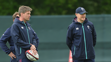 Ronan O'Gara (left) during his time with Joe Schmidt in Ireland camp. Photo by Matt Browne/Sportsfile