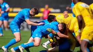 Jordan Larmour, left, and Luke McGrath of Leinster engage in a maul
