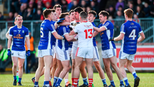 Tyrone and Cavan players involved in a first half dispute