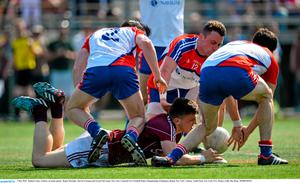 3 May 2015;  Damien Comer, Galway, in action against  Ronan McGinley, Darren Freeman and Gerard McCartan, New York. Connacht GAA Football Senior Championship, Preliminary Round, New York v Galway. Gaelic Park, New York, USA. Picture credit: Ray Ryan / SPORTSFILE