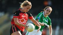 Kate McKay of Down in action against Ciara Clarke of Fermanagh during the TG4 Ulster Ladies IFC semi-final match at Healy Park. Photo by Oliver McVeigh/Sportsfile