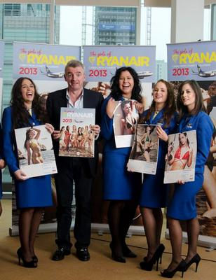 Michael O'Leary pictured with airline staff at the launch of the airline's 2013 charity calendar  Ryanair CEO Michael OLeary (centre) with Patricia Turienzo Martin Albo (Miss February, Spanish); Patrycja Wagner (Miss January, Polish); Casandra Amores (Miss April, Spanish); Monika Kaveckiene (Miss June, Lithuania); Harriet Frost (Miss September, English); and Lynn Jimenez (Miss October, Irish) at the 2013 Ryanair Cabin Crew Charity Calendar launch in Warsaw.