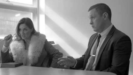 Director Robbie Walsh as a government minister with Fair City's Aisling O'Neill