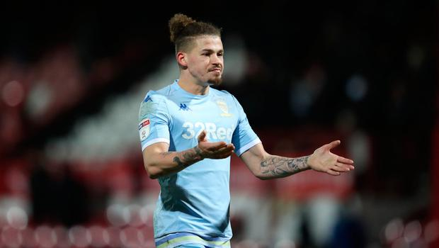 Kalvin Phillips of Leeds United gestures to fans after the 1-1 draw with Brentford. (Photo by Alex Pantling/Getty Images)