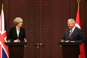 Prime Minister Theresa May at a press conference in Ankara, Turkey with the Turkish Prime Minister Binali Yildirim. (Image: Stefan Rousseau/PA Wire)