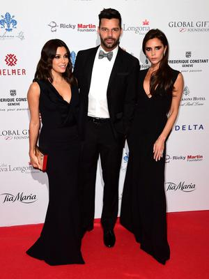 Eva Longoria, Ricky Martin and Victoria Beckham attending the 5th annual Global Gift Gala, hosted by Eva Longoria at the Four Seasons Hotel in London. Photo credit: Ian West/PA Wire