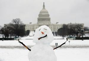 A snowman stands in front of the U.S. Capitol in Washington