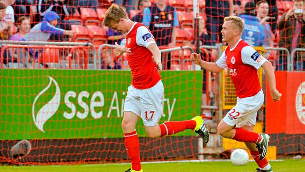 26 June 2015; Chris Forrester, St Patrick's Athletic, celebrates scoring his penalty against Longford Town with Conor McCormack. SSE Airtricity League Premier Division, St Patrick's Athletic v Longford Town, Richmond Park, Dublin. Picture credit: Sam Barnes / SPORTSFILE