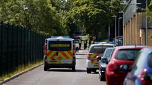 Police outside Dixons Kings Academy in Bradford. A 14-year-old boy is being hunted by police after a teacher was stabbed at the school. PRESS ASSOCIATION Photo. Picture date: Thursday June 11, 2015. The 50-year-old male teacher was taken to hospital for treatment to a stab wound to his body. See PA story POLICE School. Photo credit should read: Lynne Cameron/PA Wire