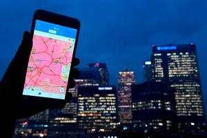 The CleanSpace app shows wide areas of the highest indicator of pollution across London Credit: Victoria Jones/PA Wire