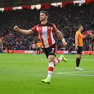 Southampton's Shane Long celebrates scoring their second goal in the Premier League clash with Wolves at St Mary's Stadium. Photo: Reuters/Dylan Martinez