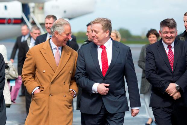 19/5/2015 REPRO FREE Britain's Prince Charles and Pat Breen TD when he and his wife Camilla arrived at Shannon airport ahead of their official visit to Ireland. . Pic Sean Curtin Fusionshooters.