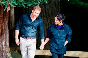 Prince Harry, Duke of Sussex and Meghan, Duchess of Sussex visiting Rotorua's Redwoods Treewalk on October 31, 2018 in Rotorua, New Zealand