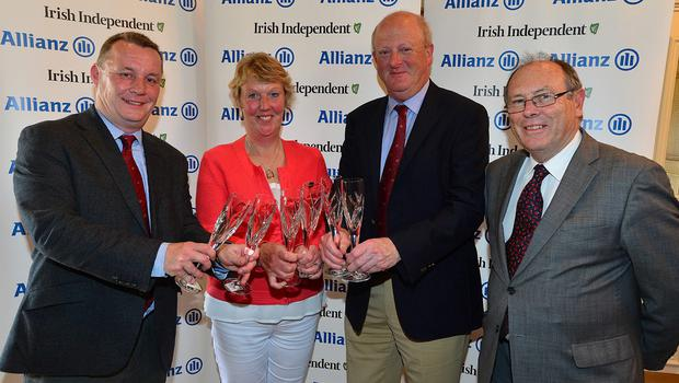 Third: Malone Golf Club's Peter Law, Eleanor McKelvey and Stephen Smith with Donal Bollard of Allianz