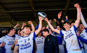 Joint captains Conner Hegarty and Cian Galvin lift the Dr Harty Cup. Photo by Seb Daly/Sportsfile
