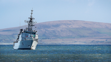 The LÉ Eithne taking part in the search at Blacksod Picture: Steve Humphreys