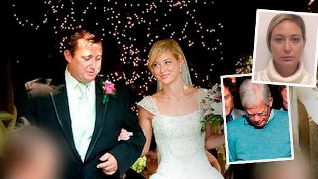 Jason Corbett and Molly Martens on their wedding day (Inset above: Molly Martens' photo taken after arrest; inset below: Molly Martens' father Tom)