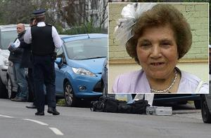 officers at the scene today. Inset, Palmira Silva, who was killed today