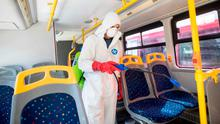 Clean-up: Disinfecting public transport is one of the first responses throughout Europe. Photo: ROBERT ATANASOVSKI/AFP via Getty Images