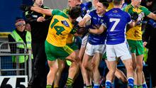 Cavan and Donegal players tussle during the Allianz Football League Division 1 Round 4 match