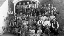 Workers and their families pictured after saving the tobacco harvest in 1933 at Rathmoylan House, Co Waterford PHOTO: NATIONAL LIBRARY OF IRELAND