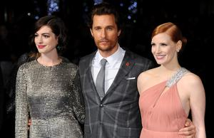 "Anne Hathaway; Matthew McConaughey and Jessica Chastain attend the European premiere of ""Interstellar"" at Odeon Leicester Square on October 29, 2014 in London, England.  (Photo by Stuart C. Wilson/Getty Images)"