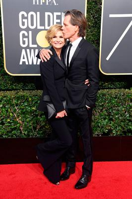BEVERLY HILLS, CA - JANUARY 07:  Actors Kyra Sedgwick (L) and Kevin Bacon attend The 75th Annual Golden Globe Awards at The Beverly Hilton Hotel on January 7, 2018 in Beverly Hills, California.  (Photo by Frazer Harrison/Getty Images)