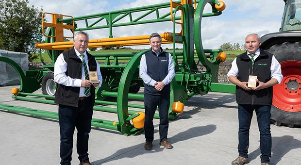 Mike Malone, Managing Director of Malone Farm Machinery, James Maloney, Innovation Arena Manager with Enterprise Ireland, and Jarlath Malone, Vice Managing Director of Malone Farm Machinery. Pic: Michael McLaughlin