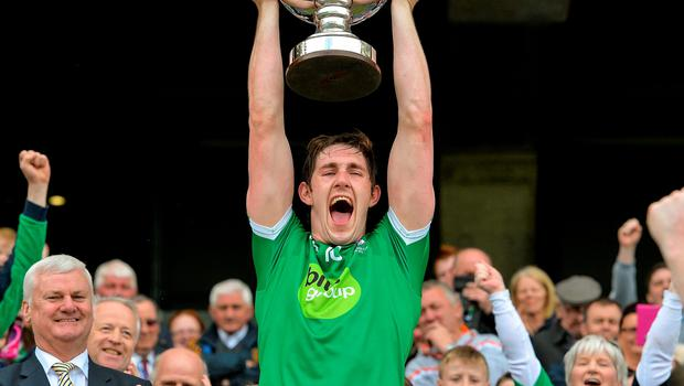 Fermanagh captain John Paul McGarry lifts the Lory Meagher Cup