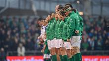 25 February 2017; Jamie Heaslip alongside his Ireland team-mates during the National Anthem ahead of the RBS Six Nations Rugby Championship game between Ireland and France at the Aviva Stadium in Lansdowne Road, Dublin. Photo by Ramsey Cardy/Sportsfile